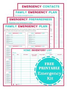 Emergency preparedness printables