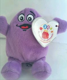 Grimace Beanie Baby 2009 McDonalds 30th Anniversary Beany Plush Purple with tags #McDonalds
