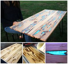 Glow in dark camping table Furniture Projects, Cool Furniture, Wood Projects, Glow Table, Recycled Door, Dark Table, Wood Crafts, Diy Crafts, Do It Yourself Inspiration