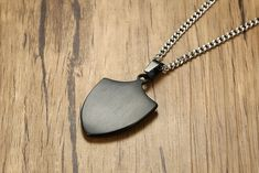 Stainless Steel Shield Necklace Cross Eight Diagrams Pendant