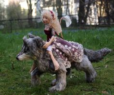 Kashuu the wolf and Emmoise the fae from the Alderworlds  https://www.etsy.com/no-en/listing/186927060/magical-companions-wolf-and-little-fae?ref=shop_home_feat_4
