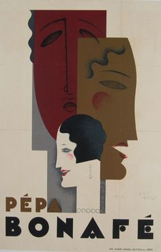 Pepa Bonafe original vintage poster by Jean Carlu from 1928 France. Great art deco theater advertisement.