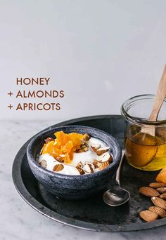 HONEY + ALMONDS + APRICOTS | DIRECTIONS: Swirl honey into yogurt. Top with coarsely chopped almonds and apricots. Drizzle with additional honey.