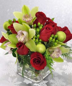 Orchids and Roses by Mary Murray's Flowers #Tulsa #TulsaFlorist #Christmas