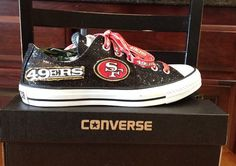 Womens' Glitter by on Etsy Niners Girl, Sf Niners, Forty Niners, 49ers Nation, 49ers Fans, Best Football Team, San Francisco 49ers, Black Glitter, Converse All Star