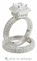 Cubic Zirconia 1 Carat 6x6 Princess Cut and Pave Wedding Set in 14k White Gold by Ziamond.  The Squariff Wedding Set features approximately 3.5 carats in total carat weight. $2595 #ziamond #cubiczirconia #cz #weddingsets #bridalsets #ring #solitaire