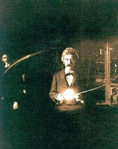 Марк Твен посетил лабораторию Николы Тесла