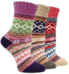 LITTONE Women's Cozy Cotton Vintage Style Warm Crew Socks 3 Pairs