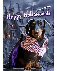 """Halloweenie"" Garden & House Flag, by Crusoe #dachshund #dachshunds #doxie #doxies"