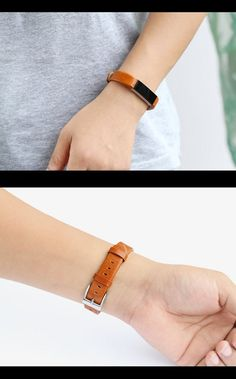 Bayite Leather Replacement Bands for Fitbit Alta - Orange Brown, Glossy