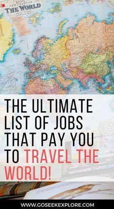 This article goes over plenty of real ways to travel the world while getting paid! Really helpful if you want to travel the world but don't have money or are looking to make travel your career. ARTICLE: The Ultimate List of Jobs that Pay You To Travel th Travel Jobs, Ways To Travel, Work Travel, Travel Advice, Travel Guides, Travel Hacks, Travel Rewards, Travel List, Vacation List