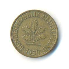 Germany 10 Pfennig (D) 1950 Vintage Coin (Code:RSC1338) by JMCVintagecards on Etsy