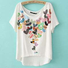 Peach Heart Two-sided Print Loose Short T-shirt For
