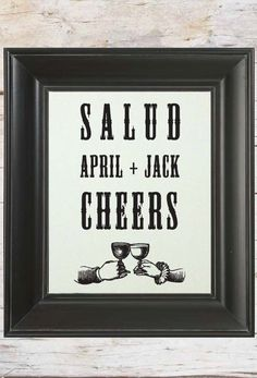 Salud Cheers // Custom Spanish Wedding Sign // Cream or Kraft Paper  by LADYBIRD INK, $19.00