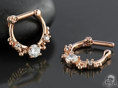 Rose gold colored Shining septum clicker