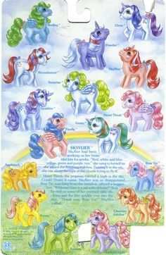 My Little Pony Year 2 Backcard. Powder was my very first pony my mom said her friend gave it to me for my first birthday in Now I have a dog I named Glory! Original My Little Pony, Vintage My Little Pony, My Lil Pony, My Little Pony Tattoo, Childhood Toys, Childhood Memories, Filly, Retro, Little Poney