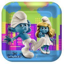 The Smurfs Small Square 7 Inch Party Cake Dessert Plates