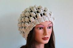 Linen Oversized Winter Hat Slouchy Beanie Slouchy Hat Baggy womens fall winter accessory Chunky Hand Made crochett via Etsy