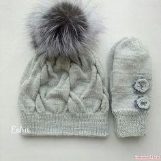 Шапка и варежки связаны из австрийской пряжи Альпина Стелла 100гр/250м. Состав 50% альпака, 45%мериносовая шерсть, 5%металлизированный полиамид. Slouchy Hat, Beanie, Crochet Stitches, Knit Crochet, Kids Hats, Children Hats, Crochet Fashion, Knitted Hats, Winter Hats