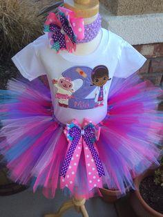 Doc McStuffins and Lambie Birthday Tutu Outfit Dress Set Handmade