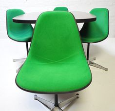Ultra green Herman Miller Chairs and Eames table Vintage mid century antique