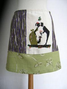 Kussend Stel Borduurwerkje vintage katoen Alijn rok door LUREaLURE