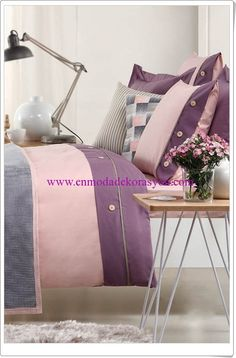 Sarev pembe-mor nevresim takımı Throw Pillows, Toss Pillows, Decorative Pillows, Decor Pillows, Scatter Cushions