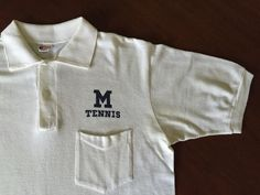 Vtg 50's Champion Runner Tag 100 Cotton University of Michigan Tennis T Shirt | eBay