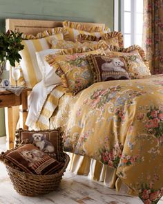 Shop Madeline Bedding from Pine Cone Hill at Horchow, where you'll find new lower shipping on hundreds of home furnishings and gifts. Glam Bedding, Blue Comforter Sets, Linen Bedding, Luxury Bedding, Bed Linens, Bedroom Green, Bedroom Sets, Bedroom Decor, Green Bedrooms