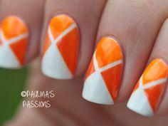 Geometric Orange Nails - nail design