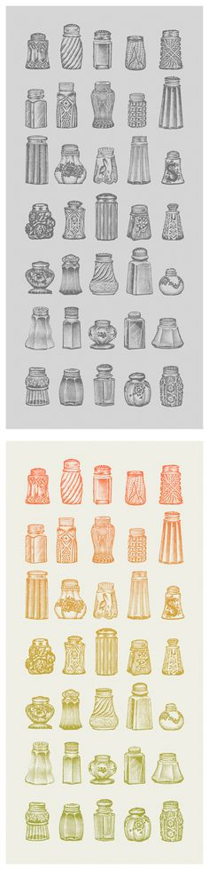 Salt & Pepper shaker engravings found in a 1909 wholesaler's catalog.  $14 @ Black & White: http://society6.com/JoeRivera/Salt--Pepper-xVe_Print    Color: http://society6.com/JoeRivera/Salt--Pepper-Color_Print