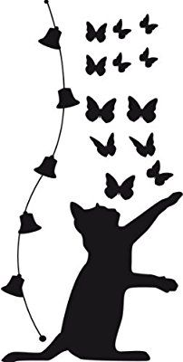 Not sure this will cut cleanly, but can recreate with Cricut cat and butterfly shapes cut separately Silhouette Clip Art, Silhouette Portrait, Applique Patterns, Quilt Patterns, Stencil Art, Stencils, Wall Stickers, Wall Decals, Diy Wall Painting