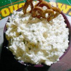 Pretzel Dip:  sour cream,  mayonaise,  shredded mozzarella cheese, Accent,  celery salt, garlic powder,  sugar,   minced onion (fresh or dried),   dried parsley