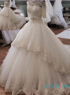 Beautiful illusion lace off shoulder princess ball gown wedding dress