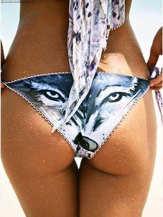 Agua Bendita 2015 Bikini: Bendito Chacal Bikini   Wolf print Brazilian Bottom   Swimwear World #irinashayk