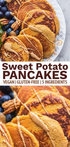 Vegan Pancake Recipes, Raw Vegan Recipes, Healthy Breakfast Recipes, Whole Food Recipes, Healthy Breakfasts, Sweet Potato Pancakes Vegan, Vegan Pancakes, Breakfast Items, Perfect Breakfast
