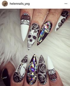 Grey Stiletto Nail Art Ideas Related posts: Simple Nails Art Ideas Compilation for beginners Lovely Nail Designs Ideas Best stiletto nail art designs Pretty Stone Nail Art Design Ideas White Acrylic Nails, Stiletto Nail Art, Acrylic Nail Art, Gel Nail Art, Acrylic Nail Designs, Black Nails, Nail Art Designs, Nails Design, White Nails