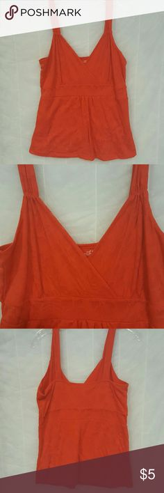 Dark OrangHigh waisted lightweight cotton tank top Lightweight cotton tank top, layered and high waisted in front and back, vee neck. Bright/Dark solid orange with subtle floral pattern. Excellent condition. Willi Smith Tops Tank Tops