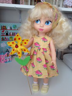 Disney Animator Dolls Clothes - The Rosie Dress, Pink Roses on Yellow Gingham by SherbetLemoni on Etsy