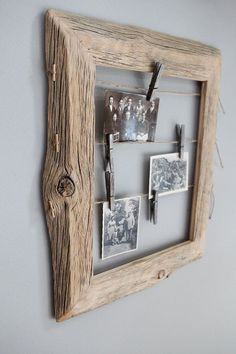 "Use Power of Wood on Diy Projects With Us | Diy & Crafts Ideas Magazine NOTE: Neat way to add the string. Use this idea to display the ""old"" photos????"