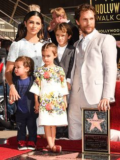 Matthew McConaughey Brings the Whole Family to Hollywood Walk of Fame Ceremony!: Photo Matthew McConaughey is joined by his wife Camila Alves and their three children - Livingston, 10 months, Levi, and Vida, 4 - while receiving his star on the Hollywood… Celebrity Daughters, Celebrity Couples, Celebrity Pictures, Hollywood Walk Of Fame, Hollywood Star, Hollywood Glamour, Beautiful Family, Beautiful Children, Beautiful People