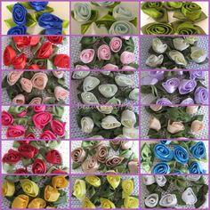 50pcs Ribbon Rosebud 12 Choice Of Colours Embellishment Scrapbooking Craft