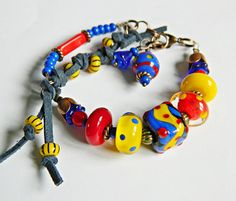 Blue Red Yellow Bohemian Lampwork bracelet Colorful beaded bracelet Boho Chic…