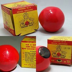 MAGIC BALL 1948 Original Fortune Teller  Some loss in graphics, box with water staining and unable to read fortune in liquid. History says this was produced before the magic 8 ball. $90 FREE SHIPPING  #vintagetoys #vintagemagician #vintagemagic #magic8ball #midcentury #vintage #magic #magictrick #jjsattic