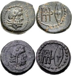 - Kings Of Galatia, Deiotaros. (Ca 62-40 BC) AE. Obverse: Laureate head of Zeus right. Reverse: Large monogram and Celtic oval shield.