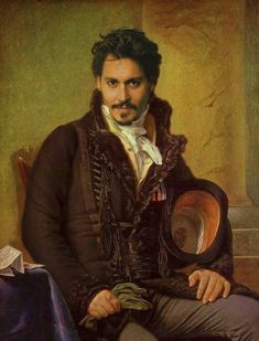 Johnny Depp as an old-fashioned oil painting