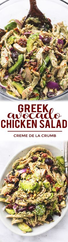 Easy healthy Greek Avocado Chicken Salad with light and creamy lemon herb dressing. | lecremedelacrumb.com #chickensalad #healthyeating #easyrecipe
