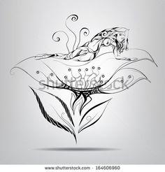 Elf girl lying in flower. Vector illustration