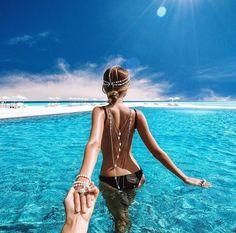 back, bikini, black, blue, body, bunny, couple, cute, follow me, girl, goals, hair, holiday, jewelry, kendall jenner, kylie jenner, maldives, motivation, sea, the maldives, vacation, water, white, follow me to