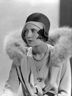 Model wearing a day suit with fur collar, by Jean Patou, 1929.